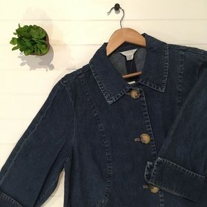 [C.J. Banks] NEW Denim Jacket Large Buttons Cuffed